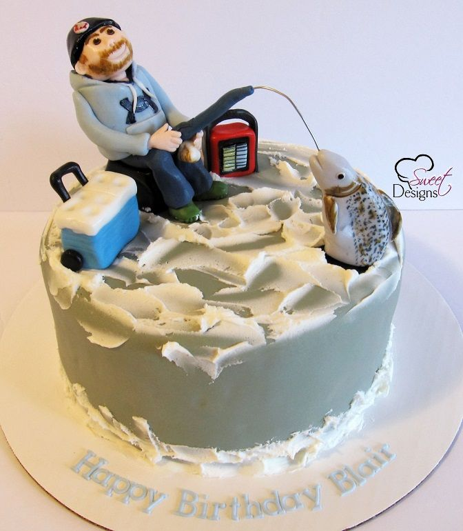 Ice Fishing Cake Party Cakes Pinterest Fishing cakes Cake