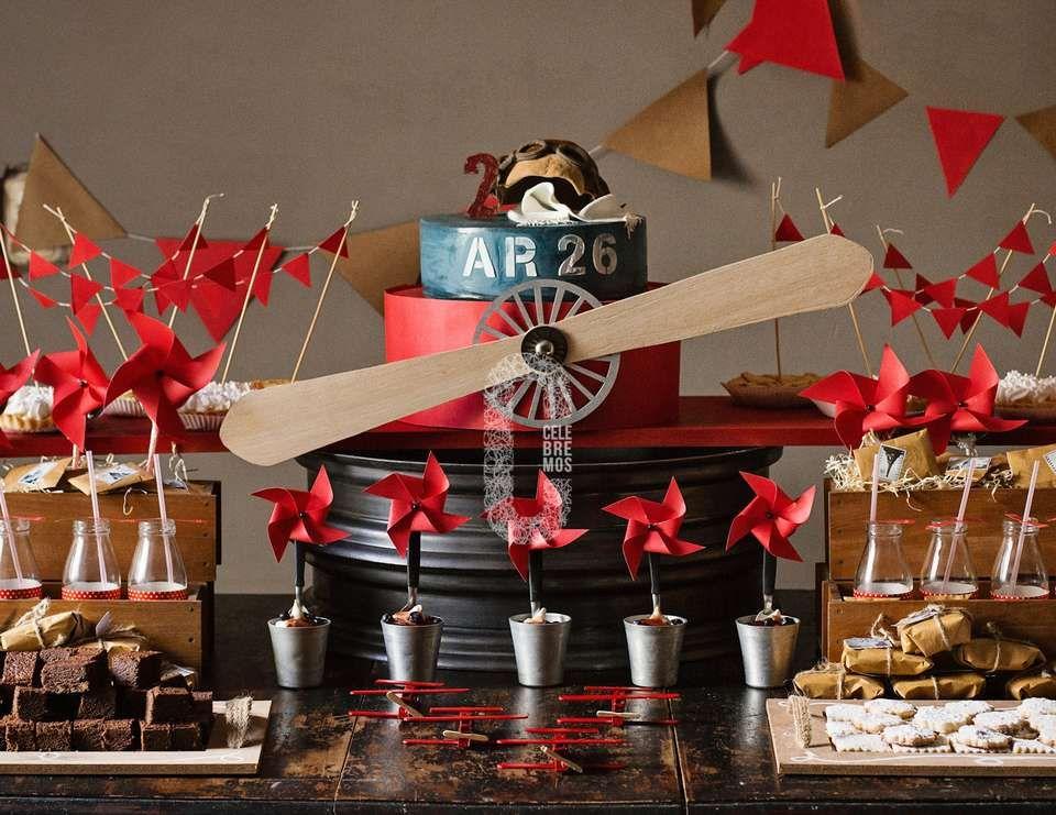 Vintage airplane dessert table - Vintage airplane