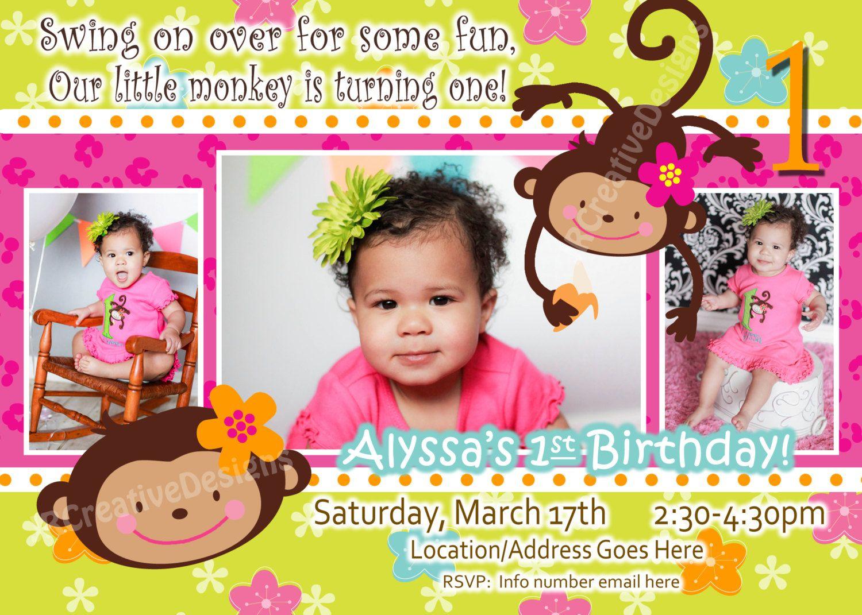 Monkey Love Birthday Photo Invite 1 year old 2 years old Party – 1 Birthday Invitation Cards
