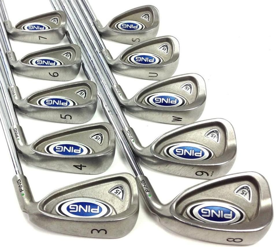 Ping I5 Green Dot Iron Set 3 Pw Uw Sw 10pc Z Z65 Stiff Steel Shafts Golf Clubs This Set Of Ping I5 Irons Is In Nice Shape Ironing Set Golf Clubs Green Dot