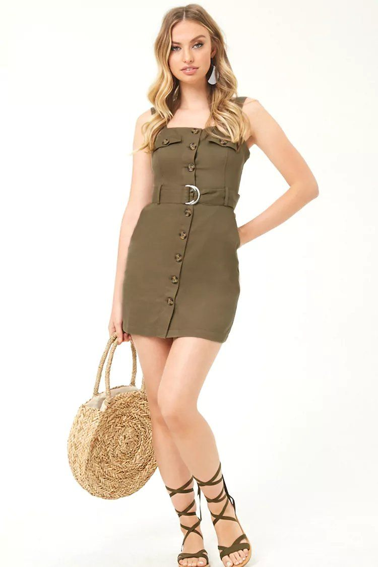 3521779d1f6c Belted Button-Front Mini Dress
