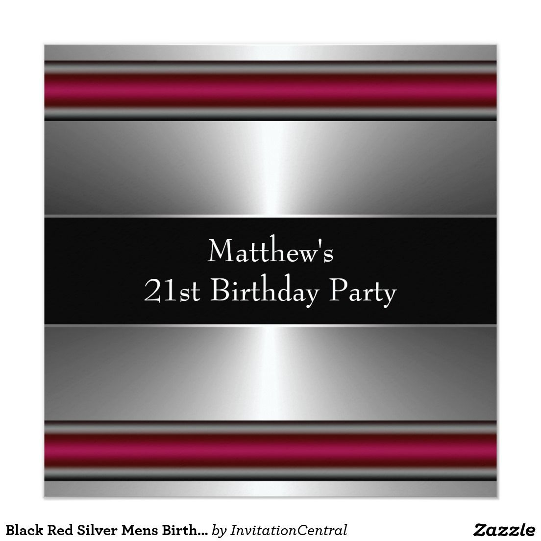 black red silver mens birthday party