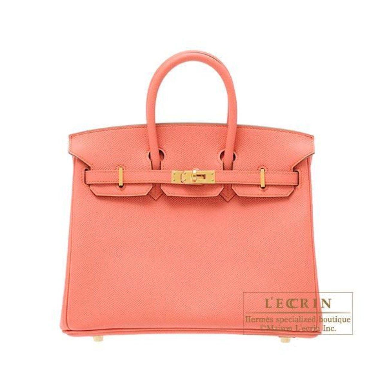 Hermes Birkin bag 25 Flamingo Epsom Leather Gold hardware from Discountpluss | Square Market