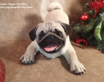 Sold Realistic Pug Boy Life Size Handmade Needle Felted Wool