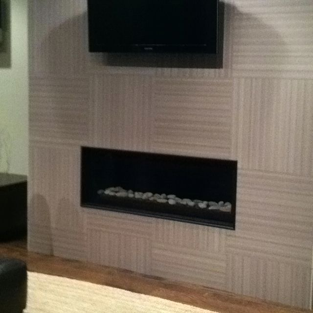 Linear Gas Fireplace With Textured Tile Wall Design Remodel