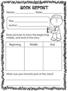 Book Report Templates For 1st Grade