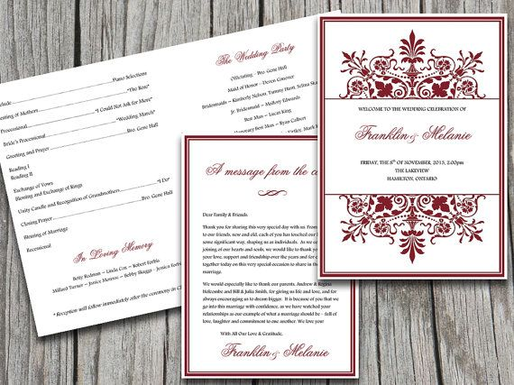 fold over wedding program template snowflake wedding program