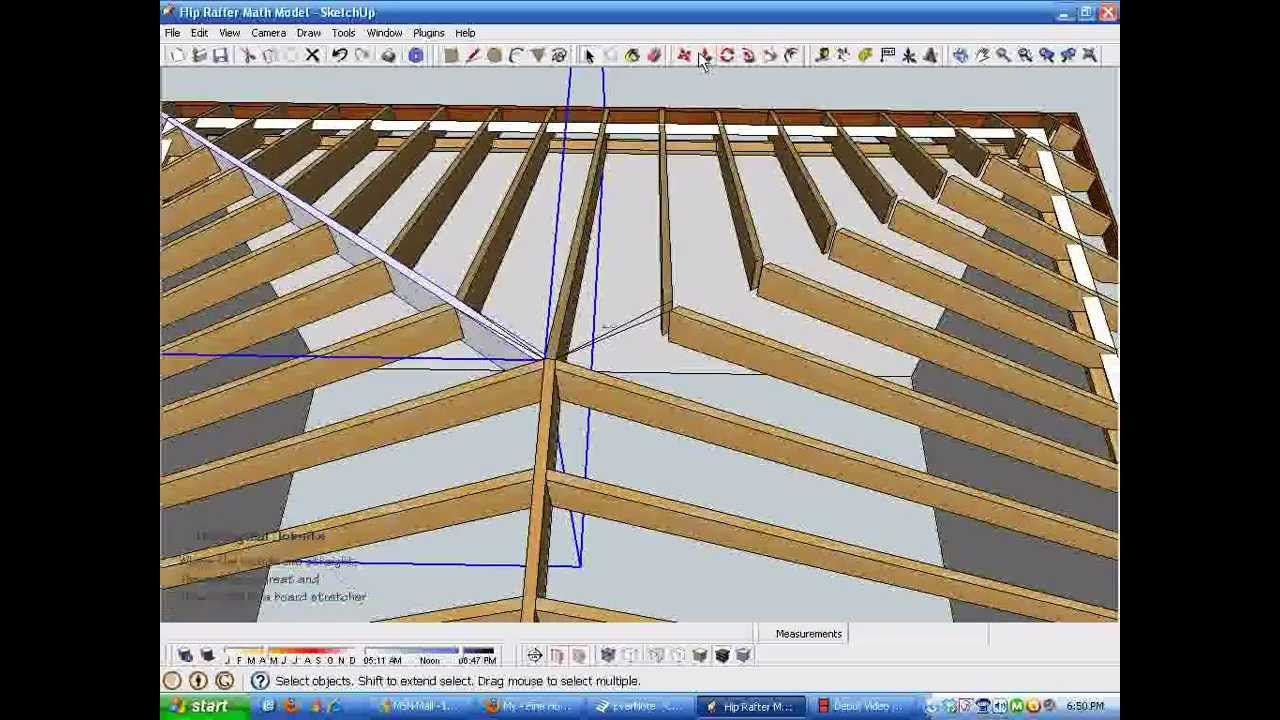 Model And Measure Hip Rafters De Mystified By Modeling In Sketchup Part Roof Framing Rafter Pitched Roof