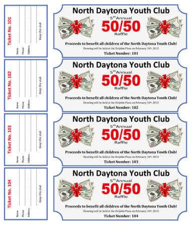50-50 Cash Raffle Ticket Template for Youth Club fundraisers - free printable tickets template