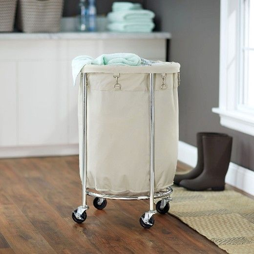 Household Essentials Round Laundry Hamper With Removable Bags White Laundry Hamper Household Essentials Commercial Laundry