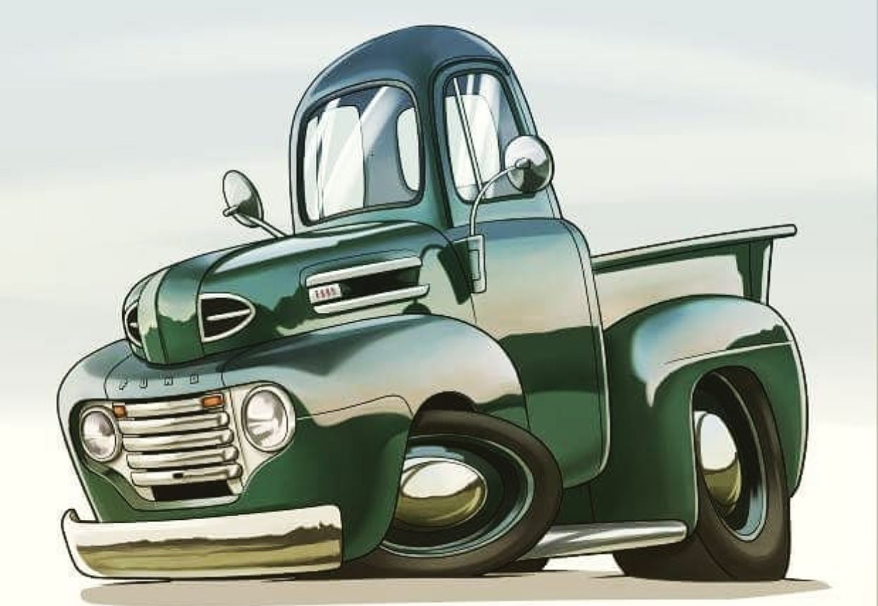1948 50 Ford Pickup Truck Cartoon Art With Images Cool Car