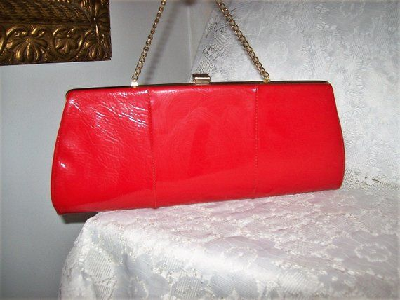 0a4033f48adb Vintage 1960s Ladies Red Patent Clutch Bag w  Brass Hang Chain   Kiss Lock  Only 12 USD clutch  red  clutchbag  vintage  purse  redpurse