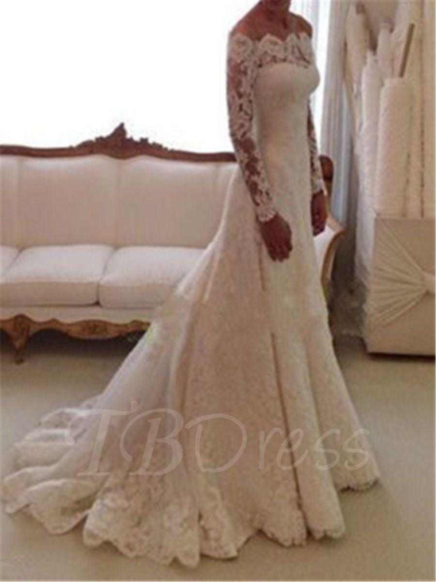 Trumpet lace long sleeve wedding dress long sleeved wedding