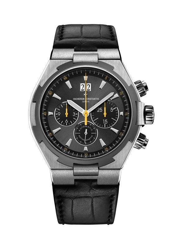 The 2015 #vacheronconstantin Chronograph Limited Edition (340 pieces) in steel, with gray dial and yellow chronograph hands (Ref. 49150/000W-9015); it is powered by automatic Caliber 1137, which runs at 3 Hz and has 183 total components (including 37 jewels), and a 40-hour power reserve. Read more at: http://www.watchtime.com/wristwatch-industry-news/watches/vacheron-constantin-launches-new-overseas-limited-editions/ #watchtime #chronograph #menswatches