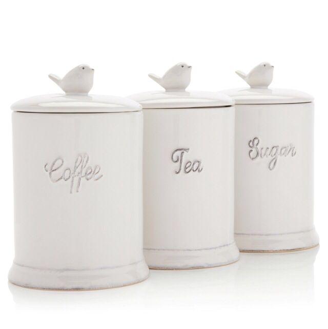 White Kitchen Jars white enamel tea coffee sugar storage tins typhoon imprima storage