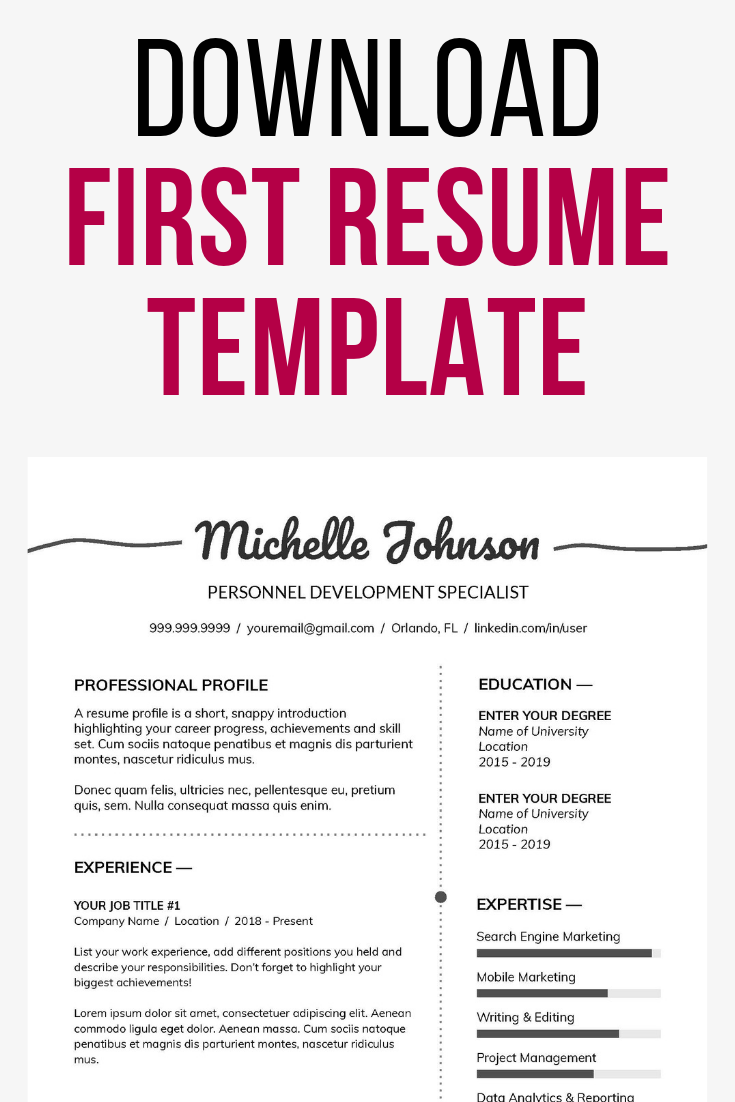 Take for example the First Job Resume Template which show