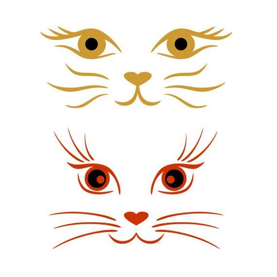 Cat Faces Cuttable Svg Png Dxf Eps Designs Cameo File Silhouette Cat Face Drawing Cat Face Cat Template