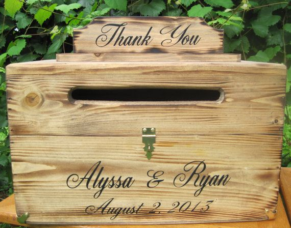 Large Rustic Card Box Keepsake Chest Cards Thank You Natural ...