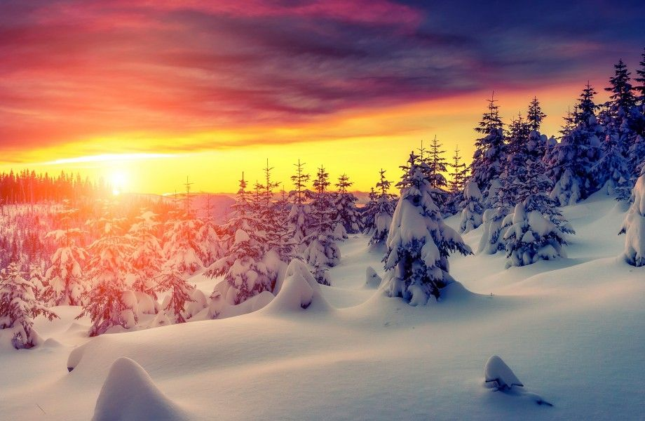 Winter Sunset With Snow 4k Ultra Hd Wallpaper 4k Wallpaper Net Paysage De Neige Paysage Toile Peinture