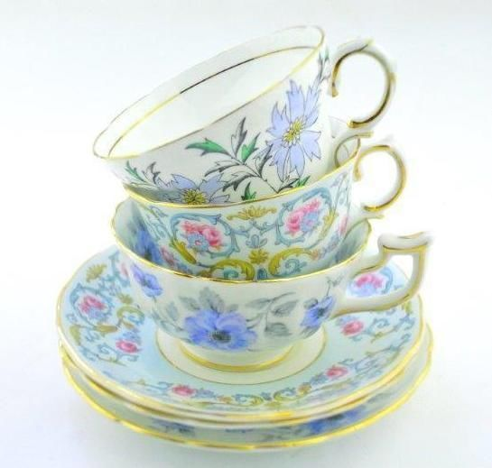 Royal Chelsea Colclough Rosina cup and saucer fine bone china tea party trio