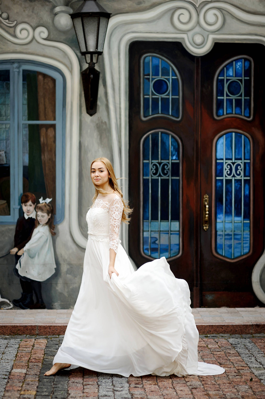 Chiffon wedding skirt with train bridal separates wedding