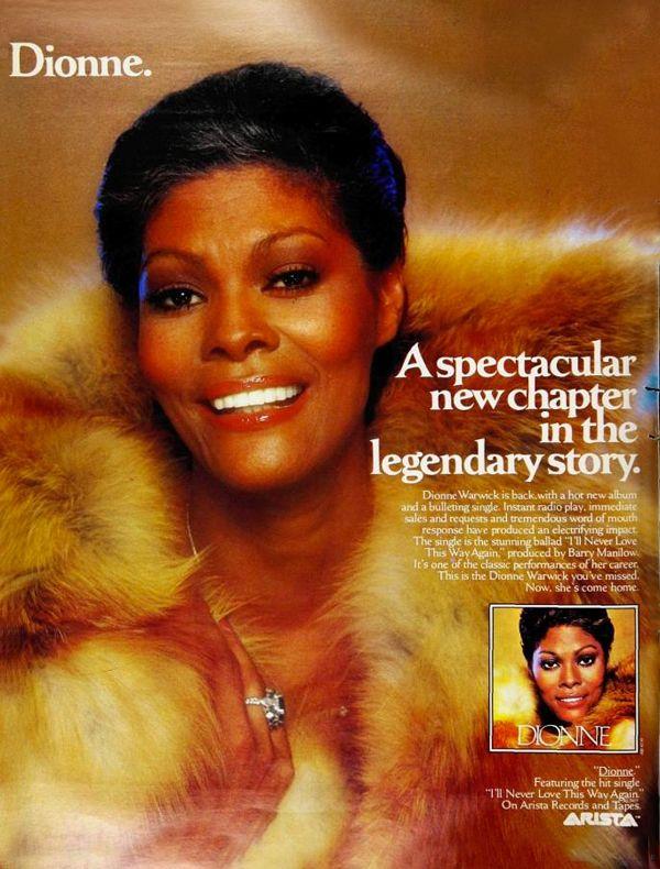 Dionne Warwick 1979 Lp Dionne Featuring The Single I Ll Never Love This Way Again Roberta Flack Dionne Warwick Black Music