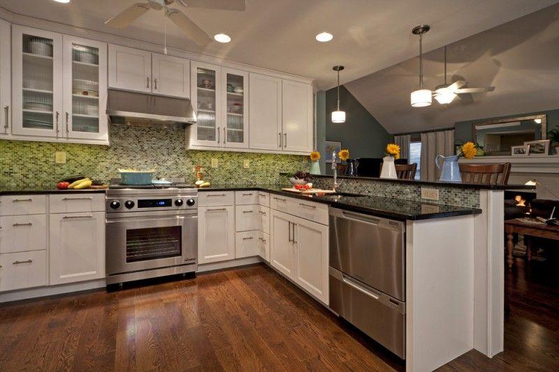 Green Glass Tile Backsplash Half Wall Cabinet Wooden Tile Counter Green Glass  Backsplash Trendy U Shaped