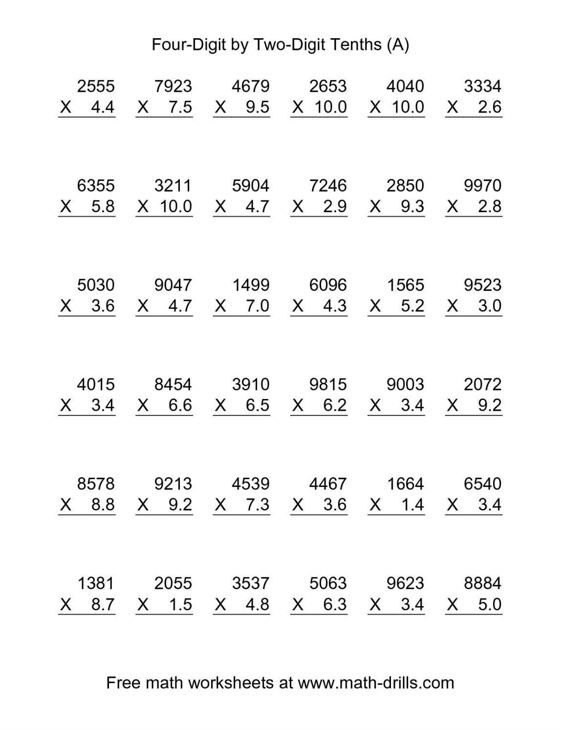 Fair Division And Multiplication Worksheets For 6th Grade For Multiplying Decimals Worksheets Decimals Worksheets Math Worksheets