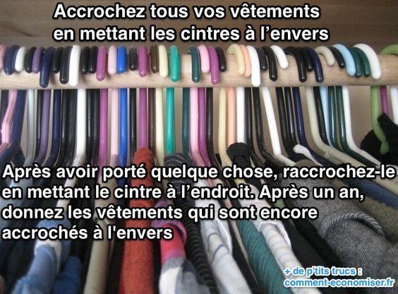 L'Astuce Infaillible Pour Faire le Tri Dans Ses Vêtements. | Petit placard, Astuces et Astuce ...