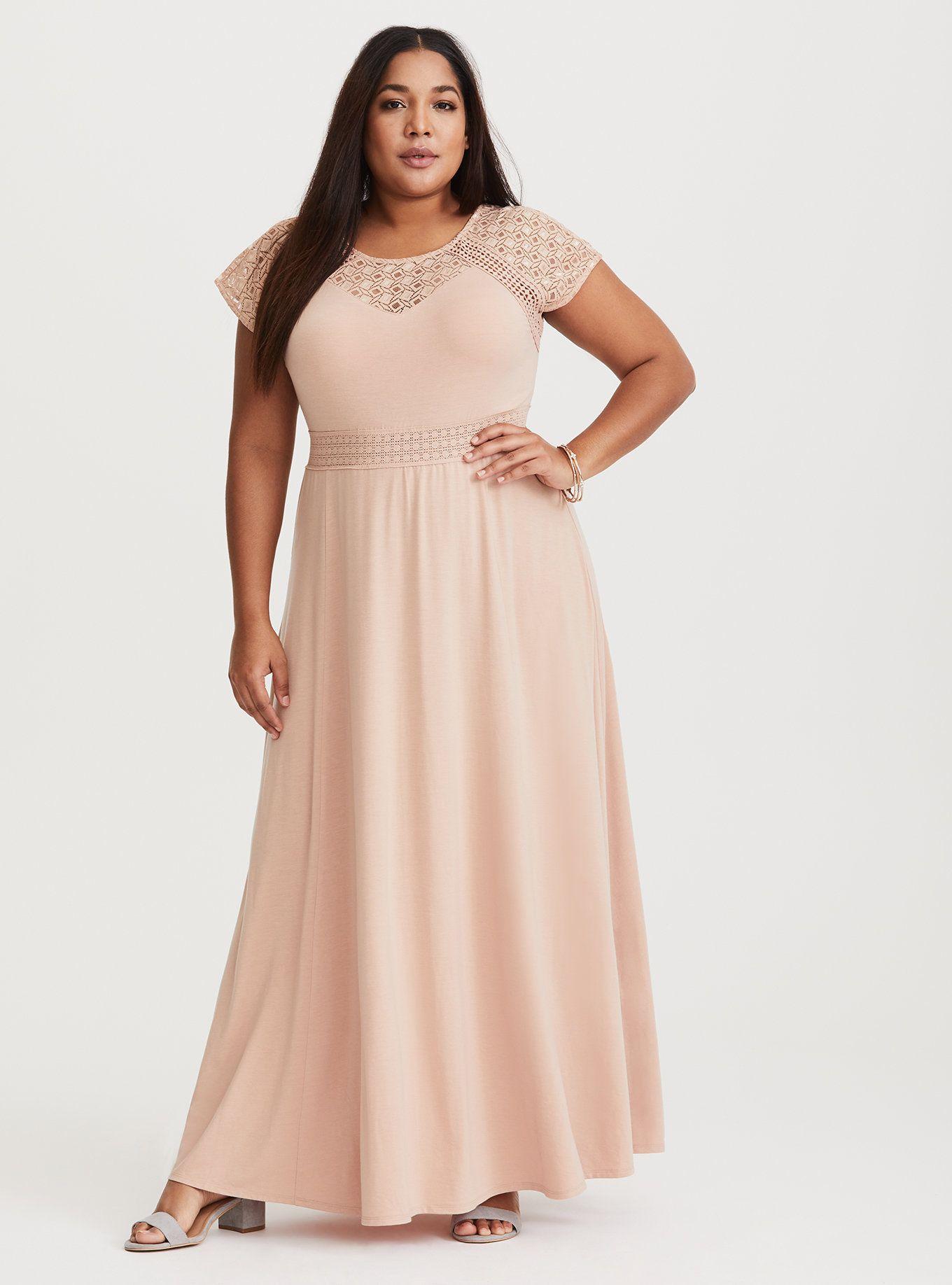 Blush Crochet Yoke Maxi Dress Short Inseam Now Available Vintage Mauve Plus Size Wedding Guest Dresses Plus Size Dresses Maxi Knit Dress