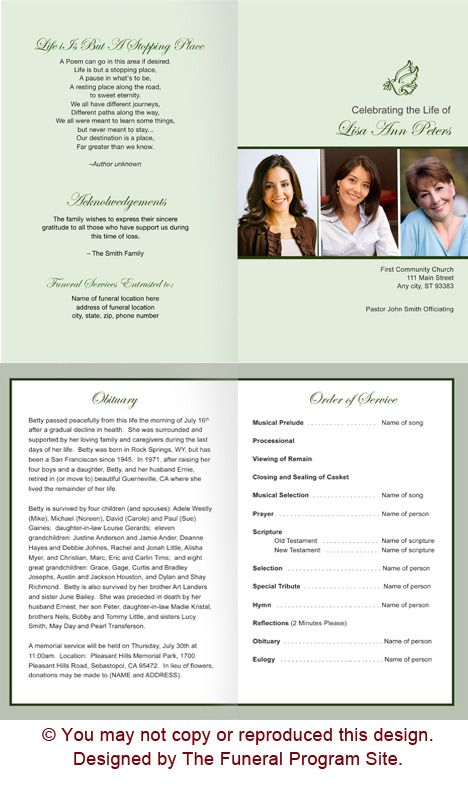 Contemporary Funeral Program Template Design  Memorial Service