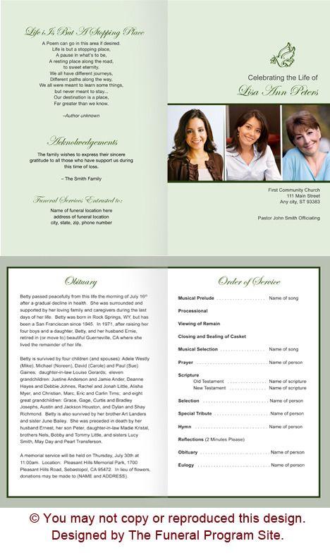 Contemporary Funeral Program Template Design Memorial Service - celebration of life templates
