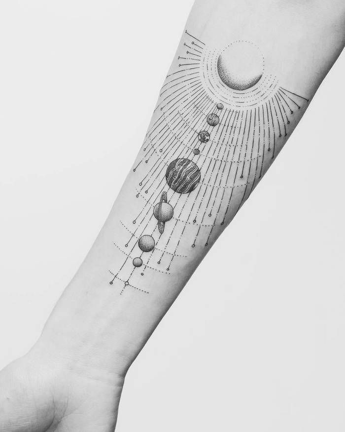 Solar System Planet Circle Tattoo: Pin On Tattoos