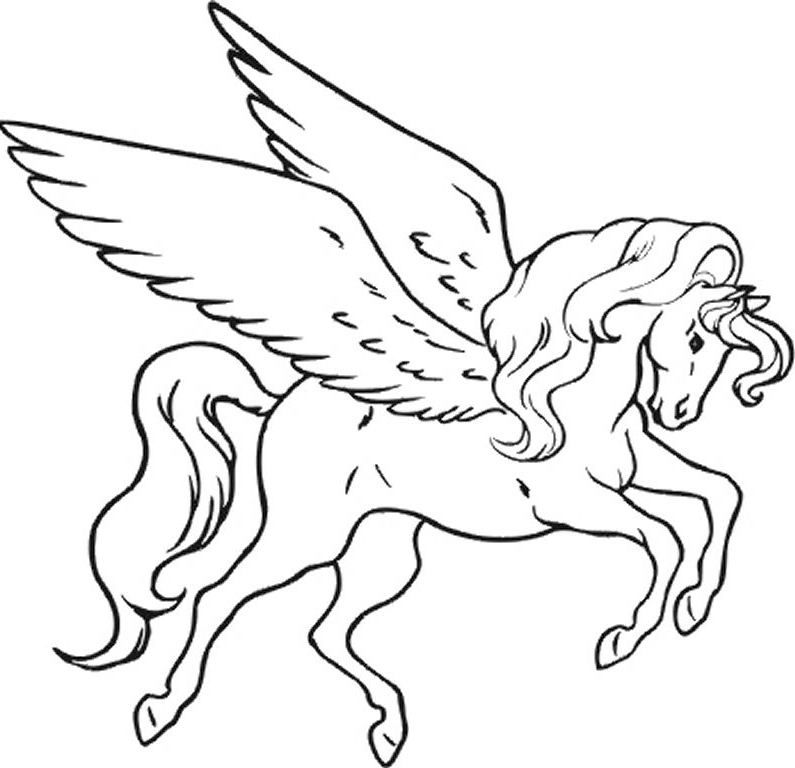 Unicorn With Wings Coloring Pages For Kids