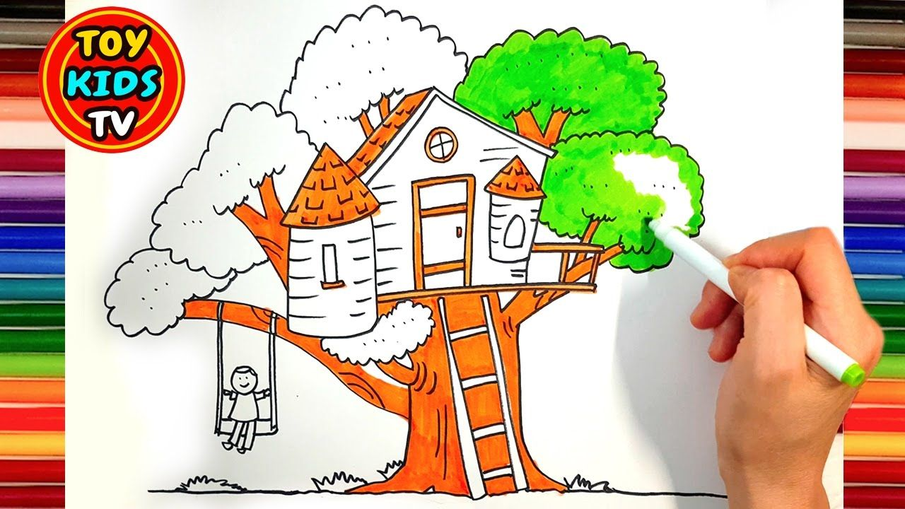 How To Draw A Tree House For Kids Hot Dog Drawing Painting With Colo Tree House Drawing House Drawing For Kids Hot Dog Drawing