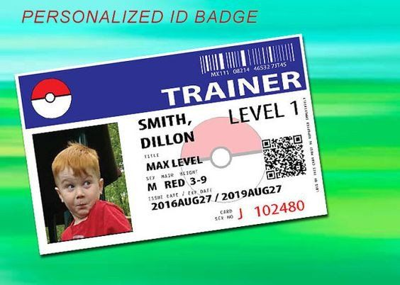 Pokemon Trainer ID badge - Pokemon party / Personalized Photo ...