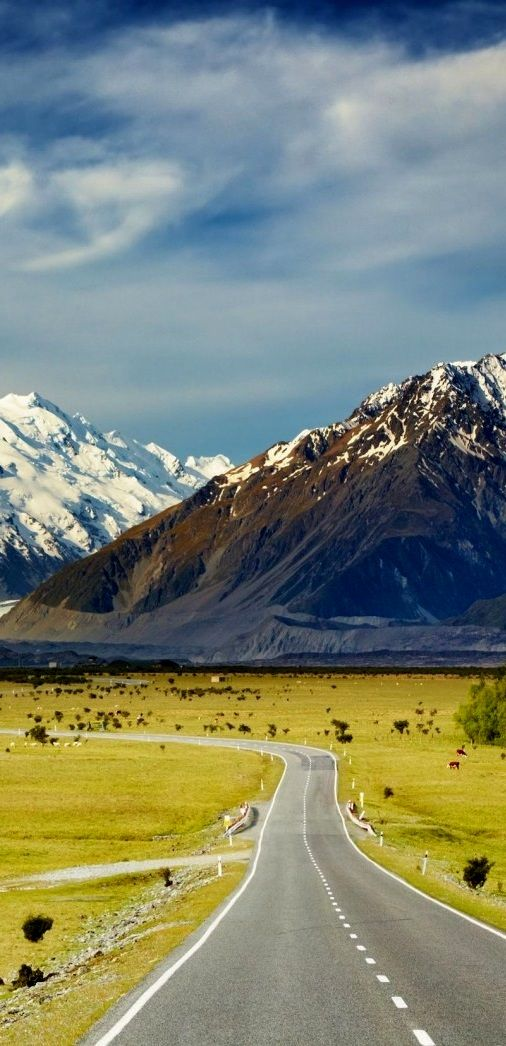 Land Of The Long White Cloud Landscape With Road Snowy Mountains New Zealand Beautiful Roads Scenic Roads Scenic Routes