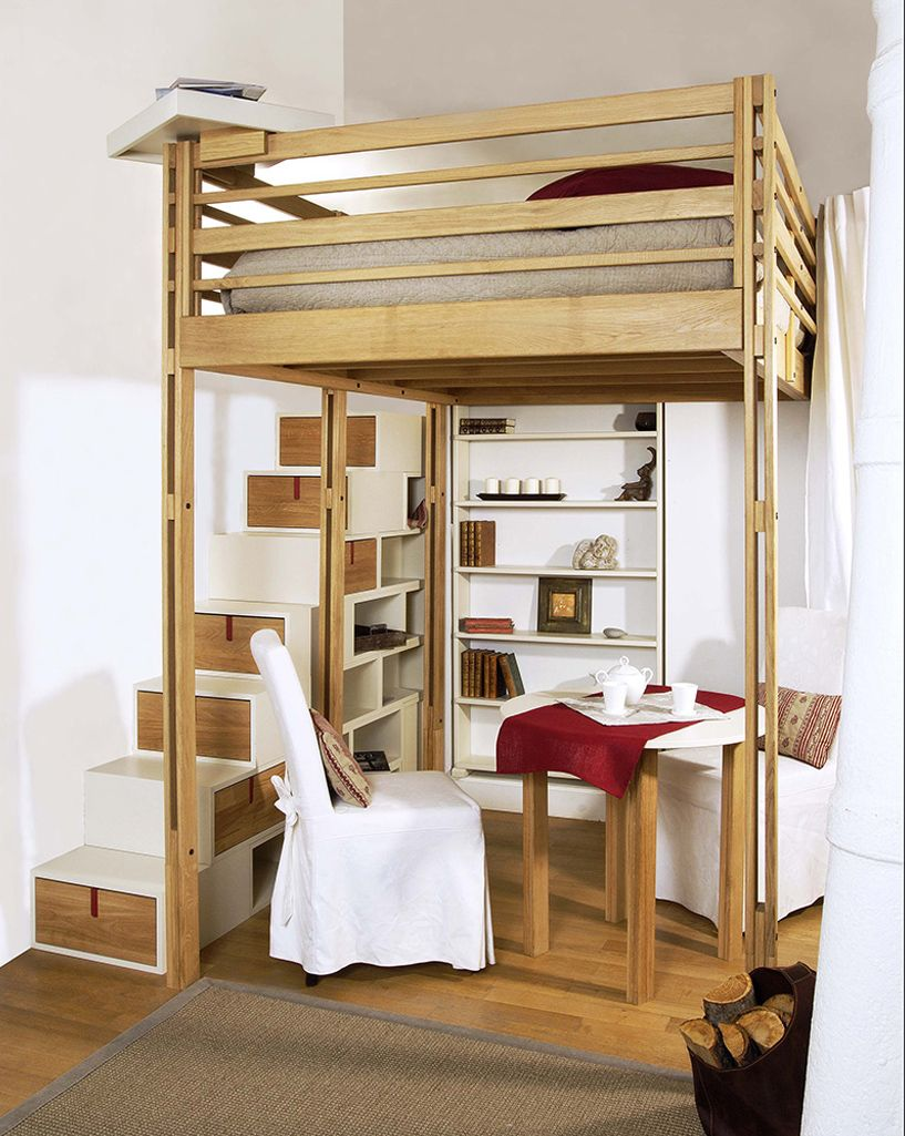 lit mezzanine adulte avec escalier, rangement intgr ...