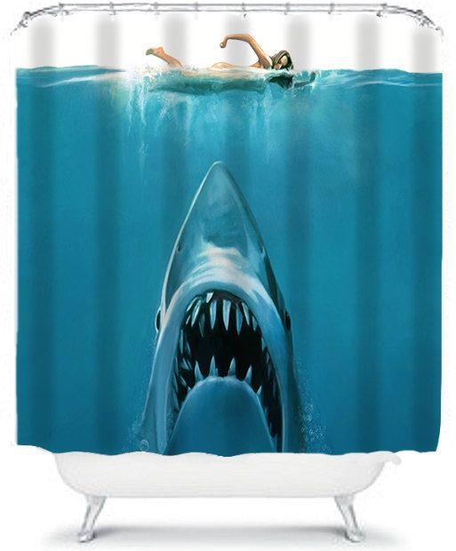 Perfect Jaws Shower Curtain Shark Shower Curtains Movie Shower Curtain Shark Attack  Ocean Home Decor Bathroom Decor