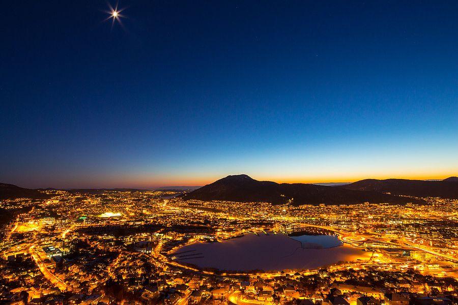 Moon over Bergen by Espen Haagensen