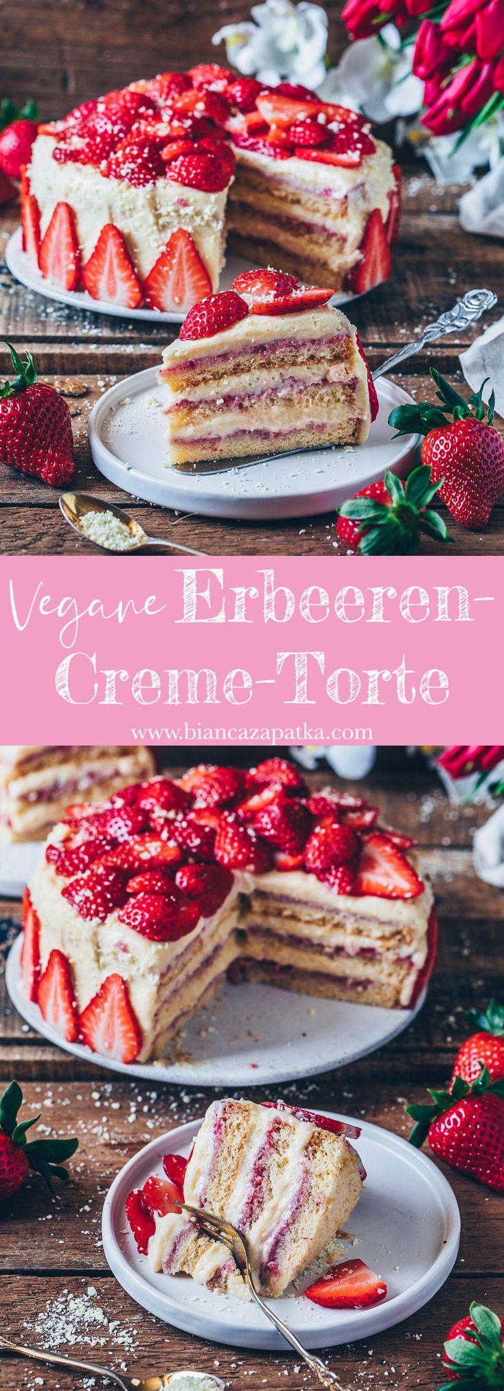 Erdbeer-Creme-Torte (Vegan) - Bianca Zapatka | Rezepte #savourycake