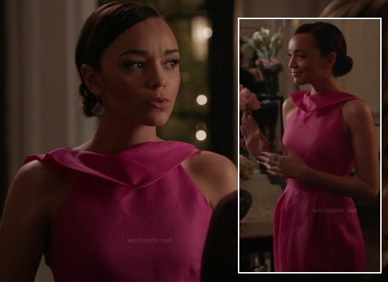 Ashley's hot pink dress on Revenge.  Outfit Details: http://wornontv.net/13183/ #Revenge #ABC