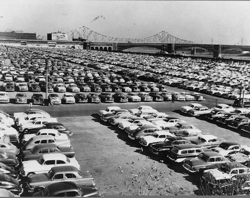 For 20+ years the Arch site was a just massive parking lot.  Image from Jefferson National Expansion Memorial archives.