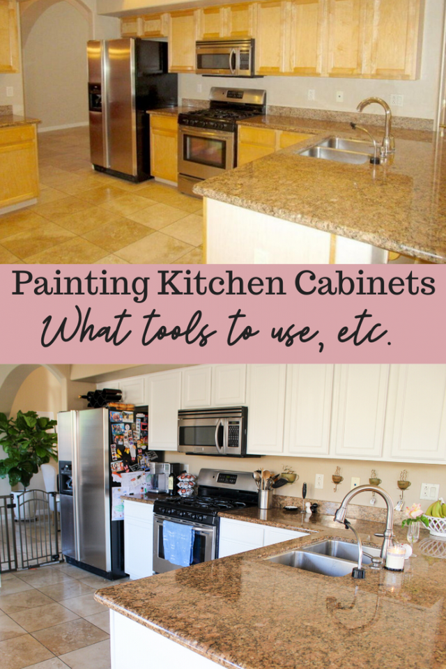 We painted our kitchen cabinets! (Benjamin Moore Swiss Coffee) (The Fitnessista)