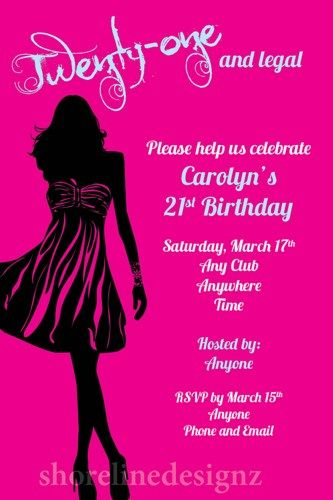 21st birthday party invitations mixed with foxy accessories and foxy