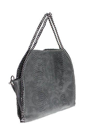 "bag2basics It-Bag Handtasche ""Jolene XL""   Echtes Leder made in Italy   Kette   Schultertasche Umhaengetasche (snake grau) - http://herrentaschenkaufen.de/bag2basics/snake-grau-bag2basics-it-bag-handtasche-jolene-xl"