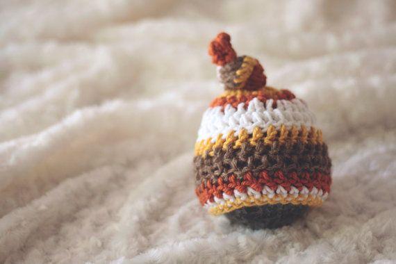 Fall Crochet Multi-Color Knot Hat Prop - newborn props, newborn photography, fall newborn props