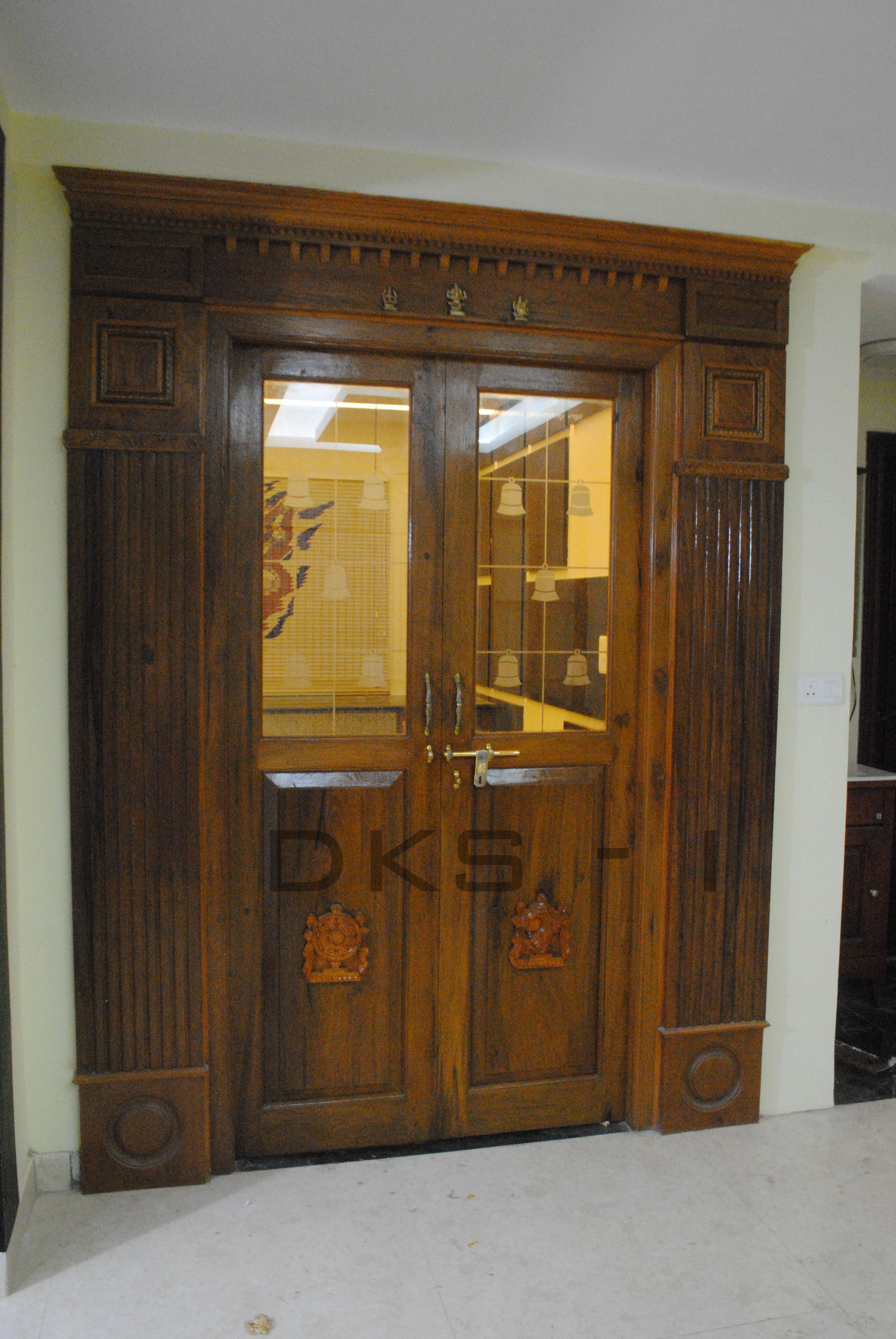 Plywood Door Designs For Rooms Traditional Pooja Door With Modern Glass Bell Itching