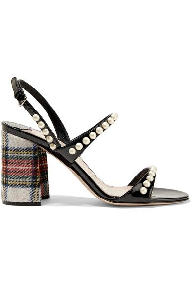 Fashion Style Miu Miu Faux pearl embellished patent leather and tartan tweed sandals Women Black