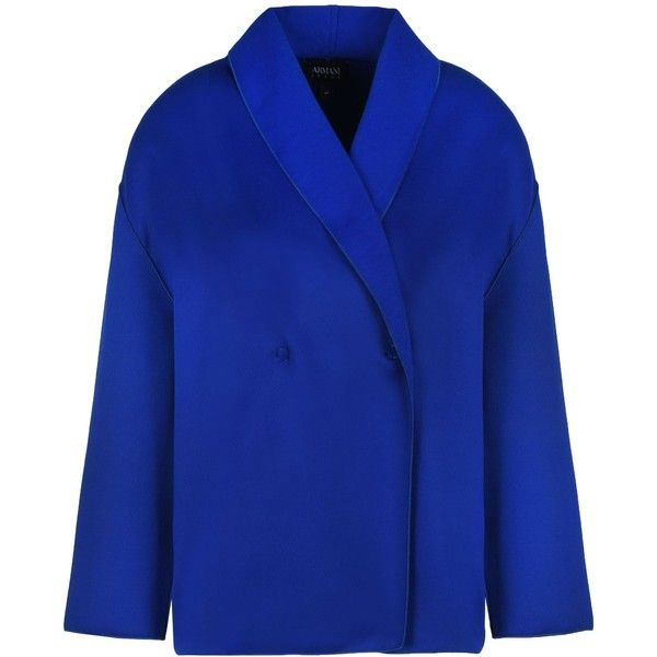 Armani Jeans Double-breasted Jacket ($210) ❤ liked on Polyvore featuring outerwear, jackets, bright blue, bright blue blazer, blue blazer, snap jacket, blazer jacket and armani jeans jacket